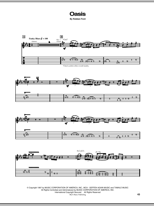 Tablature guitare Oasis de Robben Ford - Tablature Guitare