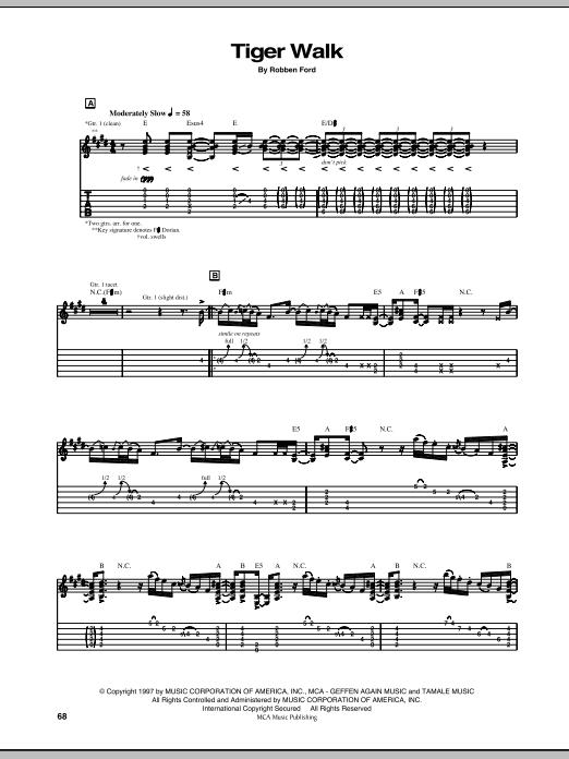 Tablature guitare Tiger Walk de Robben Ford - Tablature Guitare
