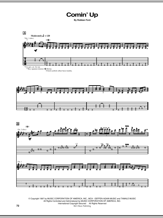 Comin' Up sheet music for guitar solo (tablature) by Robben Ford
