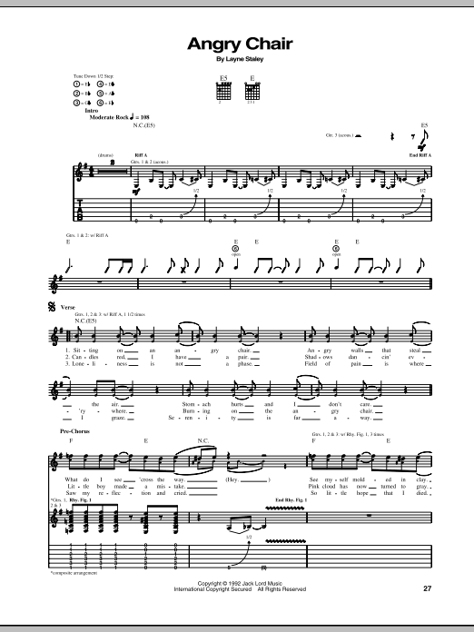 Tablature guitare Angry Chair de Alice In Chains - Tablature Guitare