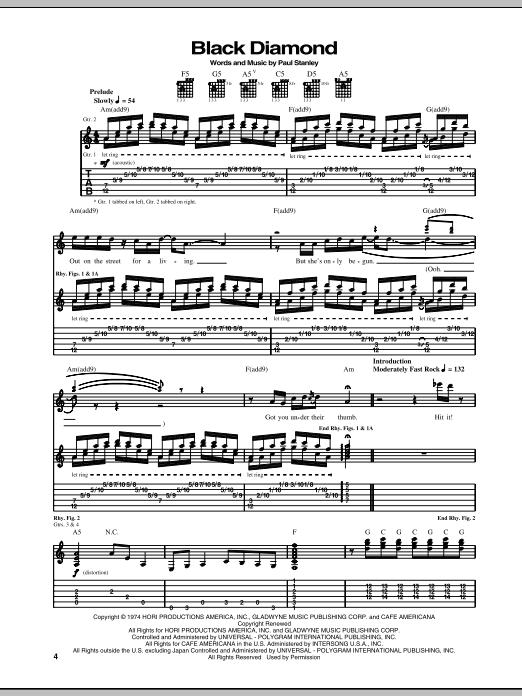 Tablature guitare Black Diamond de KISS - Tablature Guitare