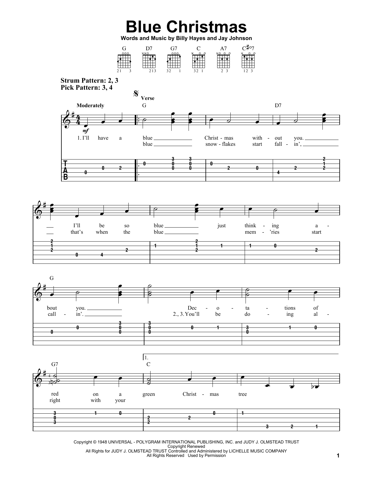 Tablature guitare Blue Christmas de Johnny Cash - Tablature guitare facile