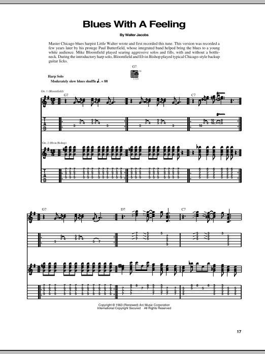 Tablature guitare Blues With A Feeling de Walter Jacobs - Tablature Guitare