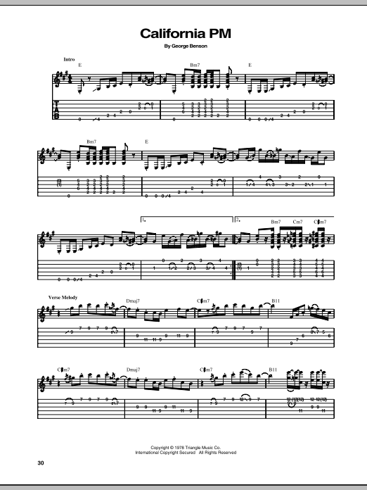 Tablature guitare California PM de George Benson - Tablature Guitare