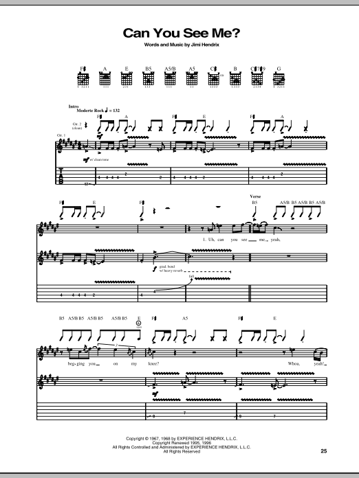 Tablature guitare Can You See Me de Jimi Hendrix - Tablature Guitare