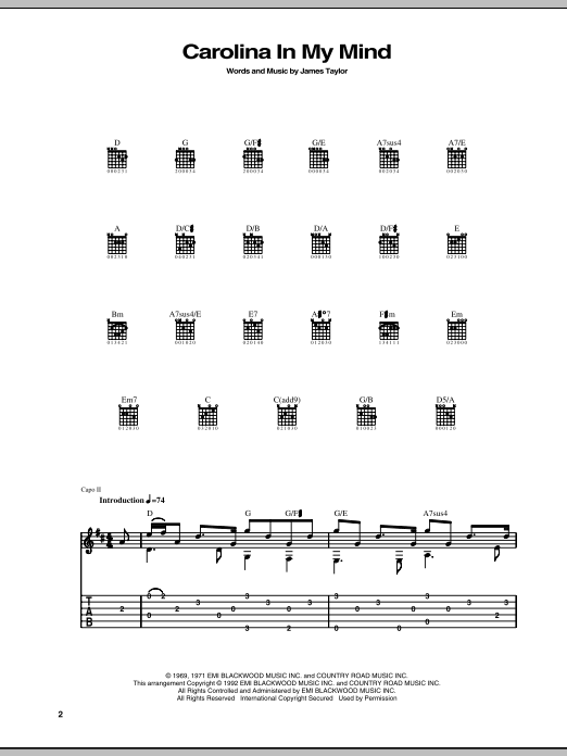 Carolina In My Mind sheet music for guitar solo (tablature) by James Taylor