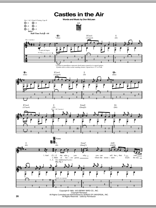 Tablature guitare Castles In The Air de Don McLean - Tablature Guitare