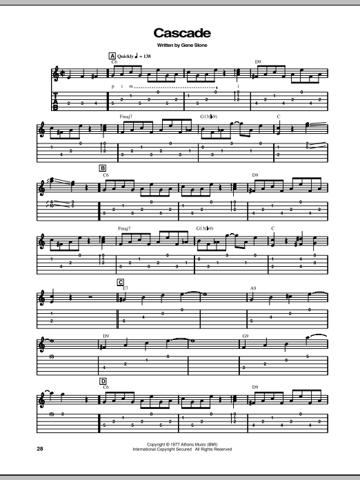 Cascade sheet music for guitar solo (tablature) by Gene Slone