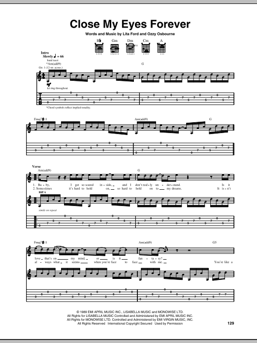 Tablature guitare Close My Eyes Forever de Ozzy Osbourne with Lita Ford - Tablature Guitare