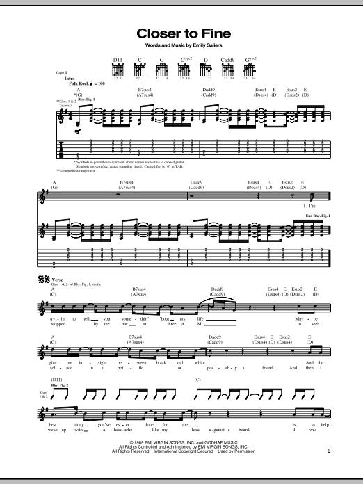 Tablature guitare Closer To Fine de Indigo Girls - Tablature Guitare