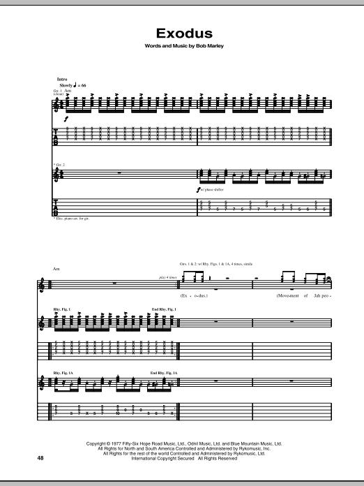 Tablature guitare Exodus de Bob Marley - Tablature Guitare