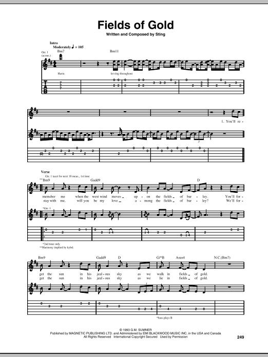 Tablature guitare Fields Of Gold de Sting - Tablature Guitare