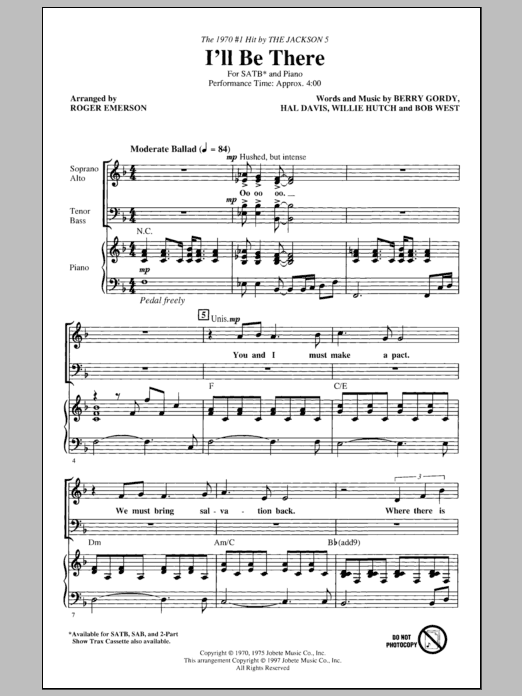 Partition chorale I'll Be There de Michael Jackson - SATB