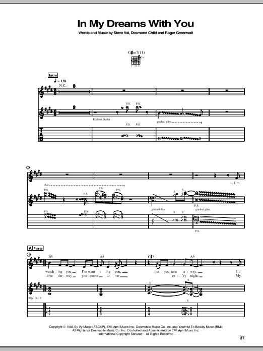 Tablature guitare In My Dreams With You de Steve Vai - Tablature Guitare