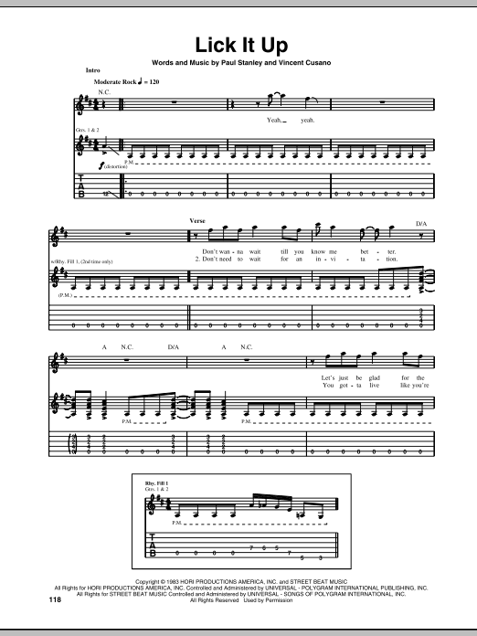 Lick It Up sheet music for guitar solo (tablature) by Vincent Cusano