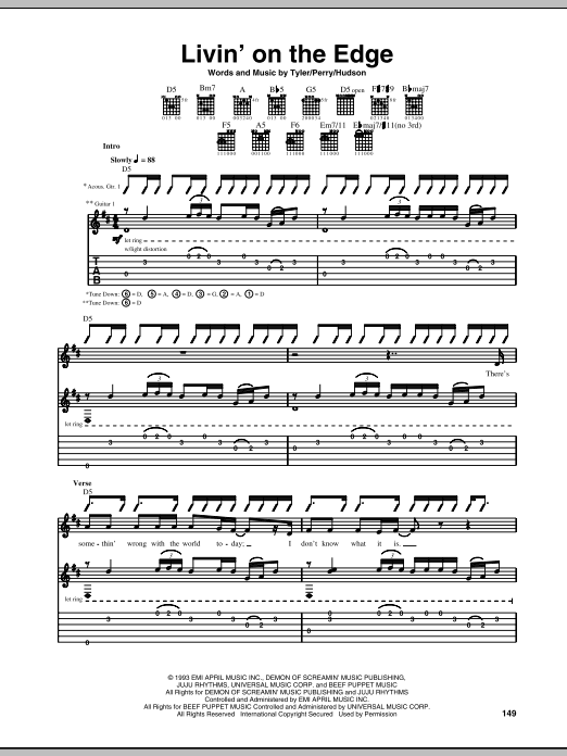 Tablature guitare Livin' On The Edge de Aerosmith - Tablature Guitare