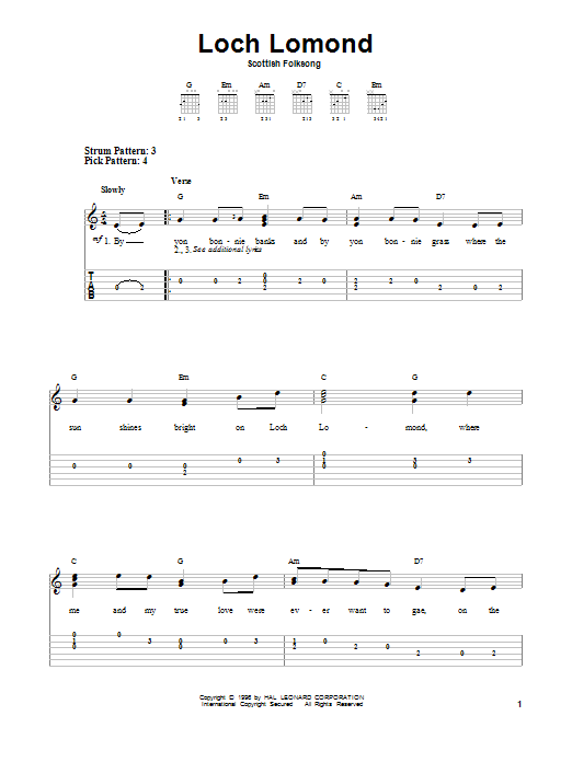 Tablature guitare Loch Lomond de Scottish Folksong - Tablature guitare facile