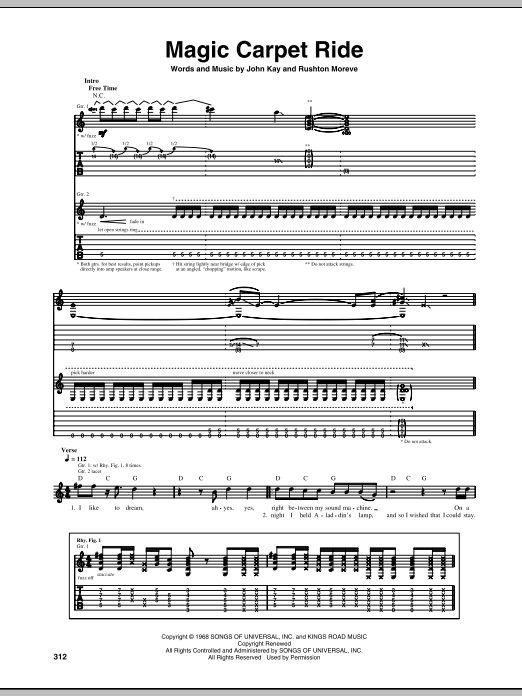 Tablature guitare Magic Carpet Ride de Steppenwolf - Tablature Guitare