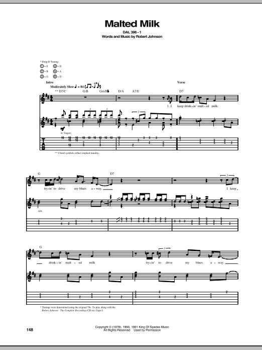 Tablature guitare Malted Milk de Robert Johnson - Tablature Guitare