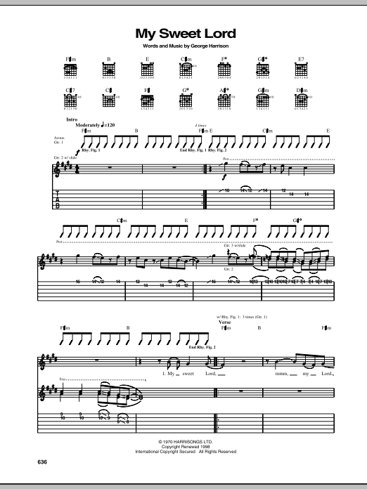 Tablature guitare My Sweet Lord de George Harrison - Tablature Guitare