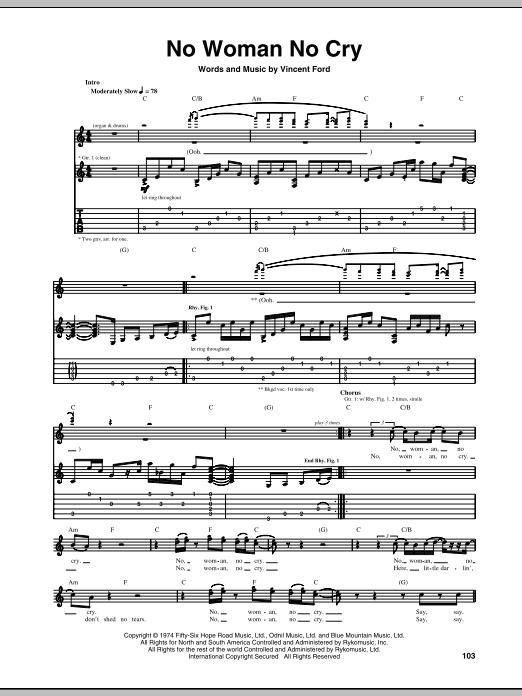 No Woman No Cry Guitar Tab by Bob Marley (Guitar Tab u2013 68935)