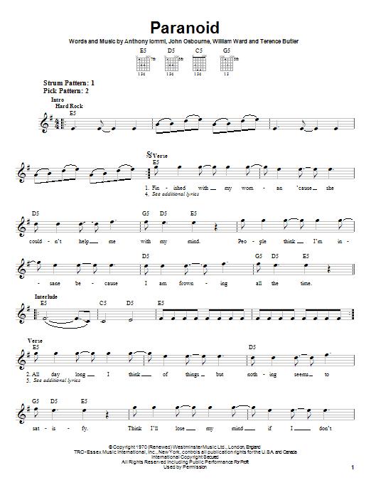 Tablature guitare Paranoid de Black Sabbath - Tablature guitare facile