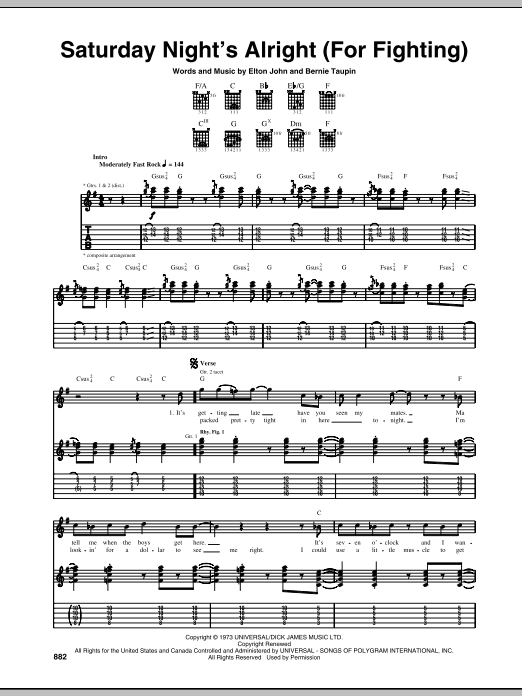 Tablature guitare Saturday Night's Alright (For Fighting) de Elton John - Tablature Guitare