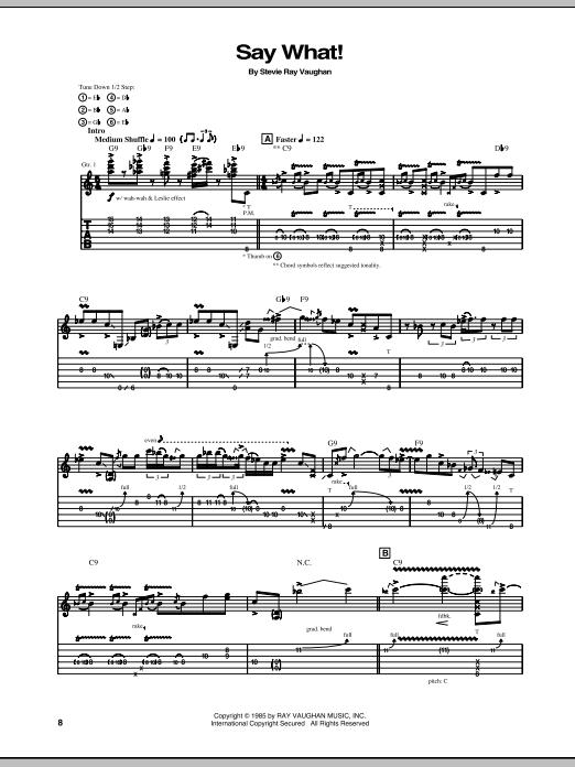 Tablature guitare Say What de Stevie Ray Vaughan - Tablature Guitare