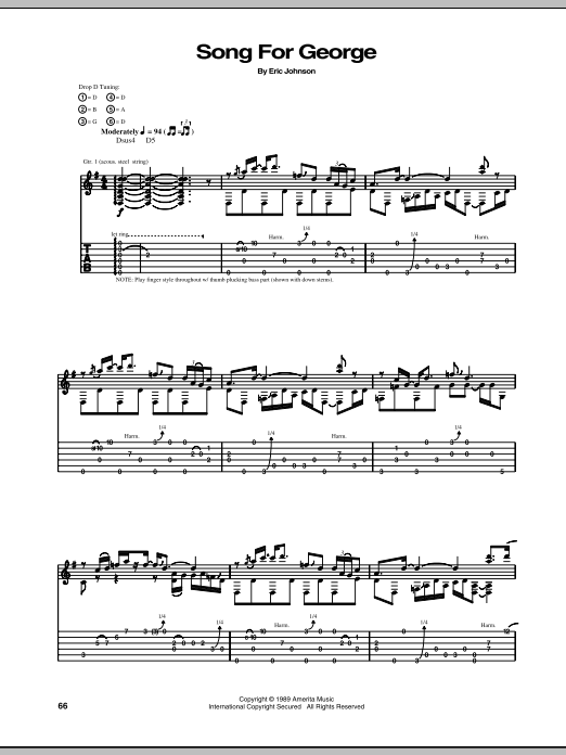 Tablature guitare Song For George de Eric Johnson - Tablature Guitare