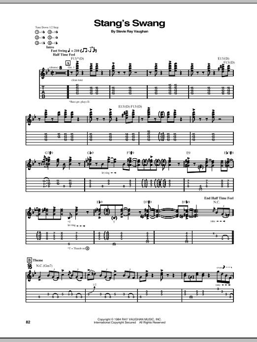 Tablature guitare Stang's Swang de Stevie Ray Vaughan - Tablature Guitare