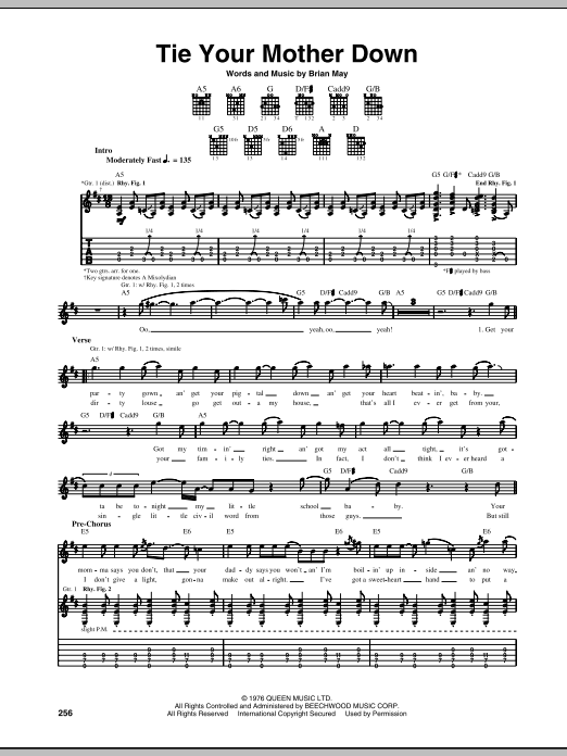 Tablature guitare Tie Your Mother Down de Queen - Tablature Guitare