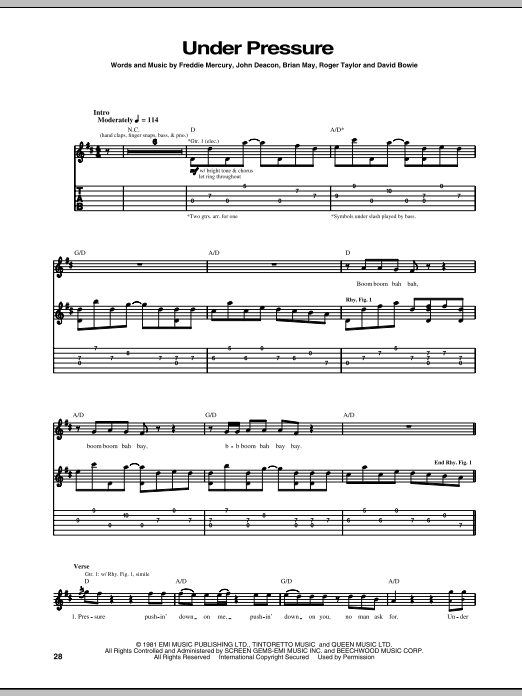 Tablature guitare Under Pressure de Queen - Tablature Guitare