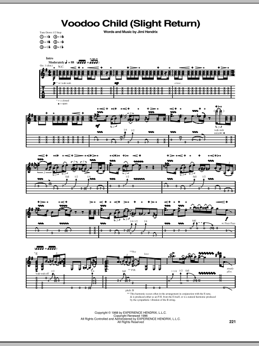 Voodoo Child (Slight Return) Guitar Tab by Jimi Hendrix (Guitar Tab u2013 74185)
