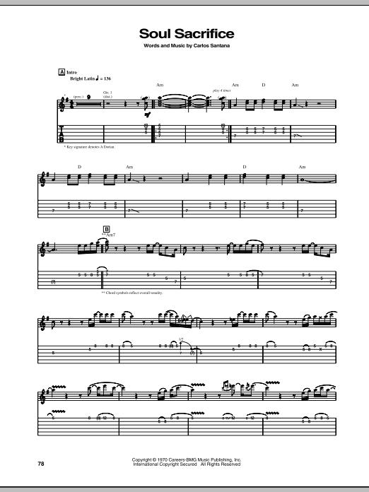 Tablature guitare Soul Sacrifice de Santana - Tablature Guitare