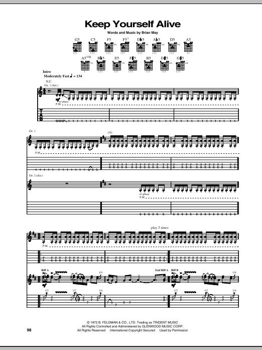Tablature guitare Keep Yourself Alive de Queen - Tablature Guitare