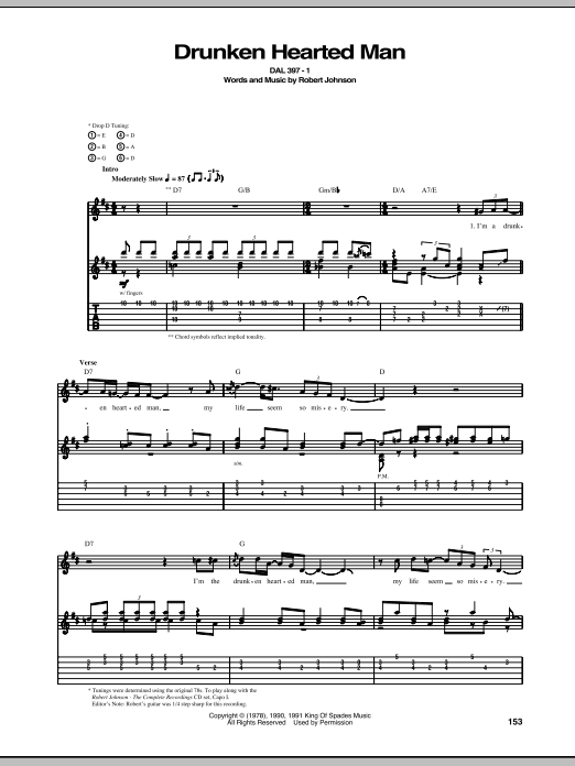 Tablature guitare Drunken Hearted Man de Robert Johnson - Tablature Guitare