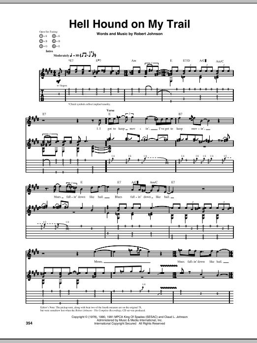 Tablature guitare Hell Hound On My Trail de Robert Johnson - Tablature Guitare
