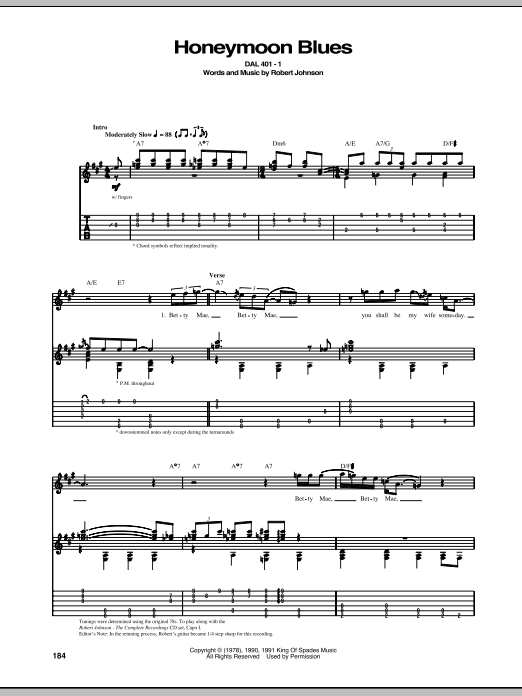 Tablature guitare Honeymoon Blues de Robert Johnson - Tablature Guitare