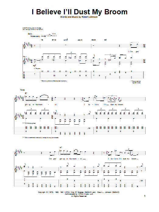 Tablature guitare I Believe I'll Dust My Broom de Robert Johnson - Tablature Guitare