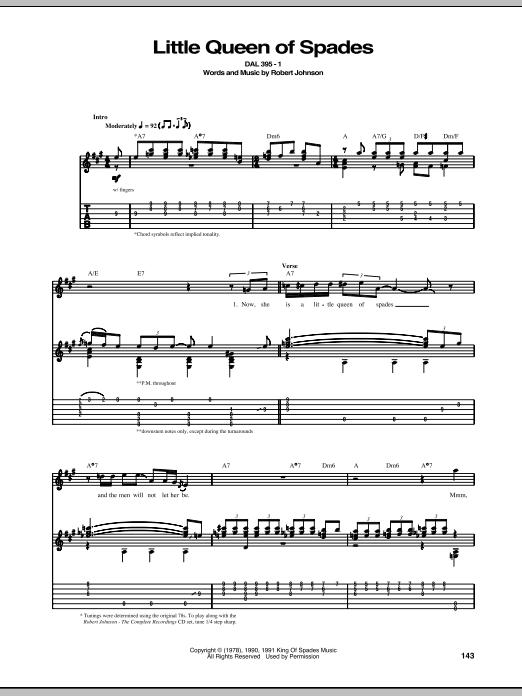 Tablature guitare Little Queen Of Spades de Robert Johnson - Tablature Guitare