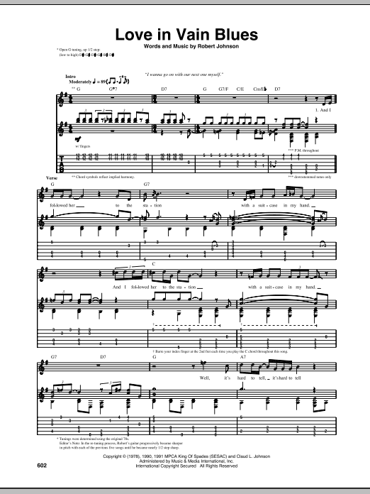 Tablature guitare Love In Vain Blues de Robert Johnson - Tablature Guitare