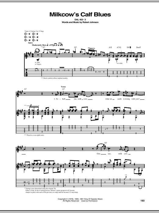 Tablature guitare Milkcow's Calf Blues de Robert Johnson - Tablature Guitare