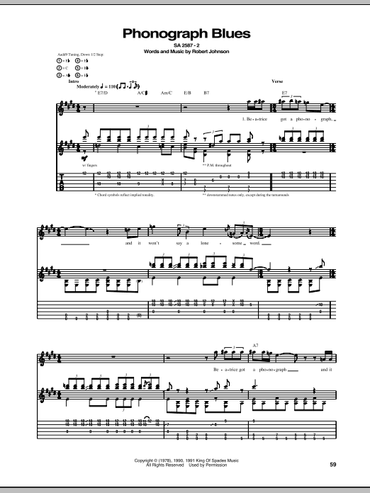 Tablature guitare Phonograph Blues de Robert Johnson - Tablature Guitare