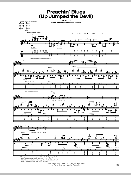 Tablature guitare Preachin' Blues (Up Jumped The Devil) de Robert Johnson - Tablature Guitare