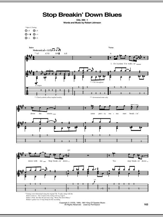 Tablature guitare Stop Breakin' Down Blues de Robert Johnson - Tablature Guitare