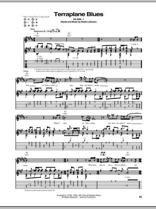 Tablature guitare Terraplane Blues de Robert Johnson - Tablature Guitare