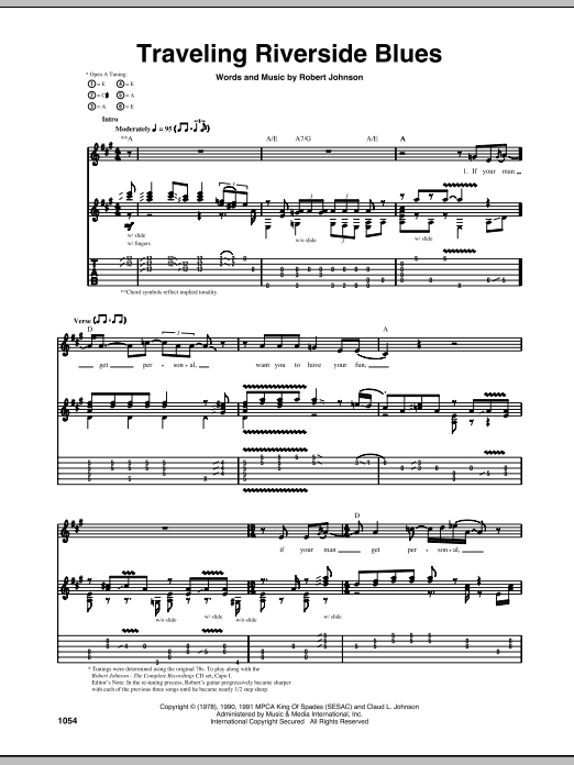 Tablature guitare Traveling Riverside Blues de Robert Johnson - Tablature Guitare