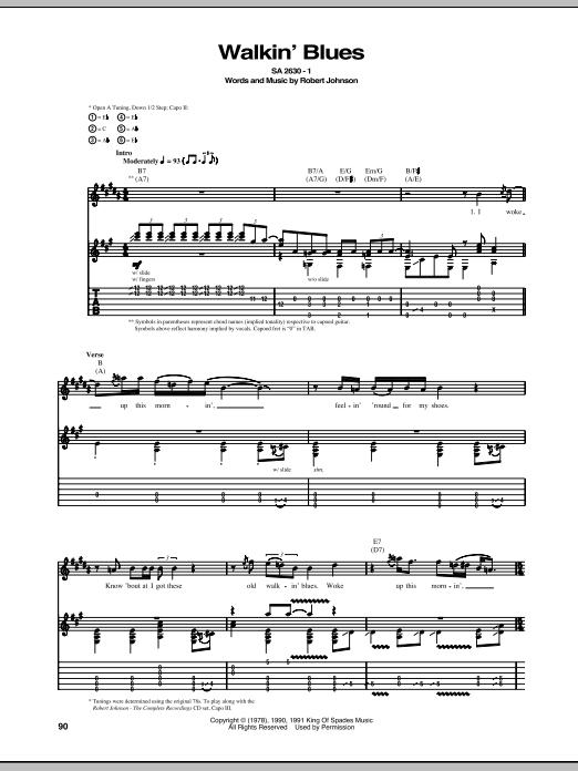 Tablature guitare Walkin' Blues de Robert Johnson - Tablature Guitare
