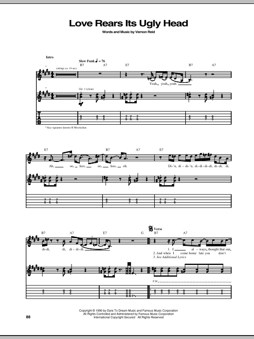Tablature guitare Love Rears Its Ugly Head de Living Colour - Tablature Guitare