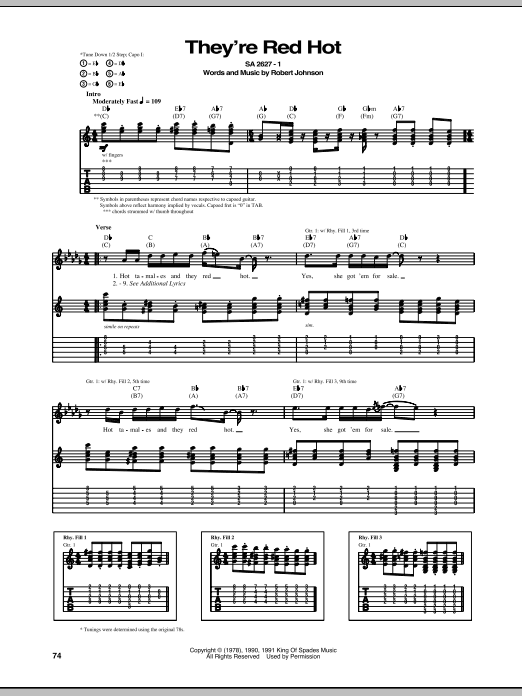 Tablature guitare They're Red Hot de Robert Johnson - Tablature Guitare